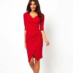 NWT ASOS Red Ruched Wrap Pencil Dress
